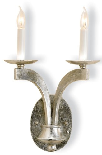 Currey and Company 5022 Venus 2-Light Wall Sconce, Contemporary Silver Leaf Finish