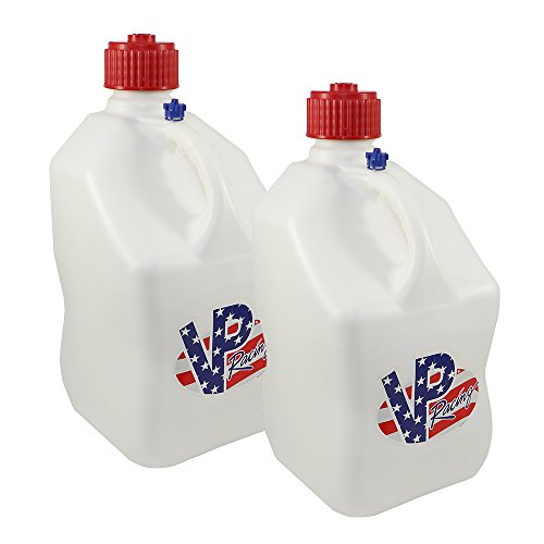 2 Pack VP 5 Gallon Square White Patriotic Racing Utility Jugs by VP Fuels (Image #1)