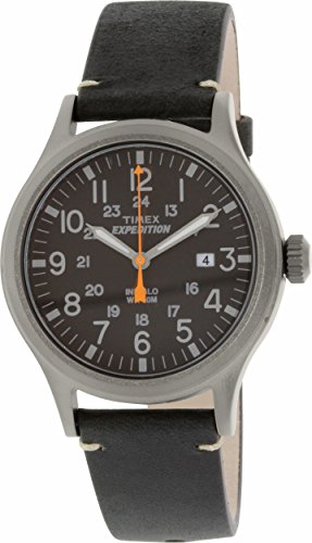 Timex Men's TW4B01900 Expedition Scout Black Leather Strap W