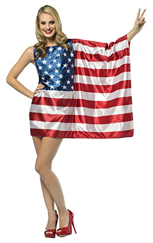 Cheap Fancy Dress Outfits (UHC Women's USA Flag Outfit 4th of July Patriotic Fancy Dress Halloween Costume, OS (4-10))