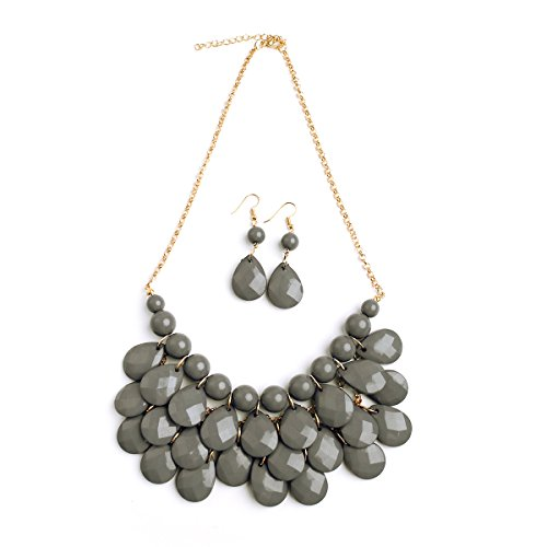 Beaded Ladies Necklace (Riah Fashion Women's Gray Beaded Bubble Bib Chunky Statement Pendant Necklace Set)