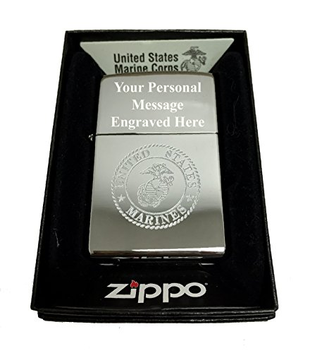 Zippo Custom Lighter - United States Marines Laser Engraved with Earth Anchor Eagle Logo - Regular High Polish Chrome FREE ENGRAVING ()