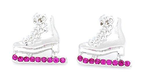 ICE SKATE EARRINGS - SKATER EARRINGS - CRYSTAL SKATE EARRINGS - MANY COLORS AVAILABLE POST & DANGLE! - HOT PINK POST -