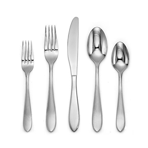 Cambridge Silversmiths 286760OPP12DS Delia Satin Mirror 60 Piece Flatware Set, Silver