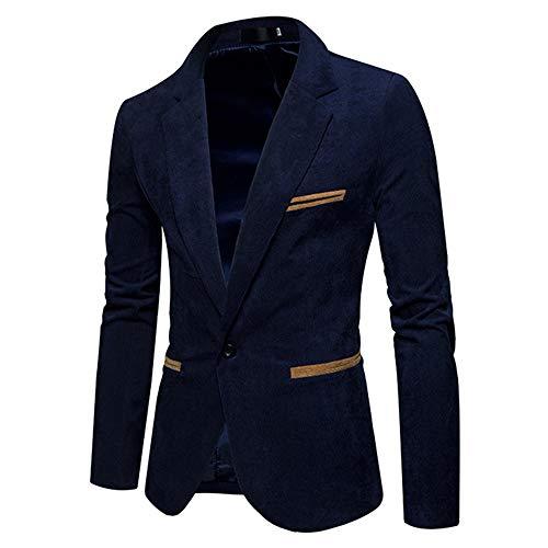 Hommes Manteau Marine Hiver Kobay Top Automne Velours Veste Côtelé Costume Slim Blazer Bq1CdU