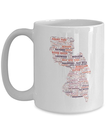 New Jersey Cities In The Shape Of The State 15 oz Coffee Mug (May Montclair In)