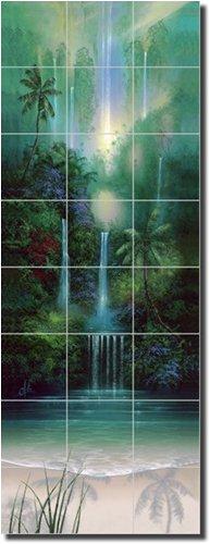 ''Wailani Falls'' by David Miller - Artwork On Tile Ceramic Mural 34'' x 12.75'' Wall Shower Backsplash by Artwork On Tile
