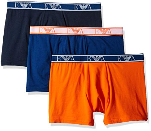 Emporio Armani Men's Monogram 3-Pack Boxer Brief, Marine/Blue/Orange Medium