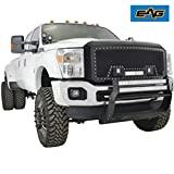 EAG Rivet Black Stainless Steel Wire Mesh Replacement Grille with Three LED Lights Matte Black Shell for 11-16 Ford Super Duty F-250 F-350
