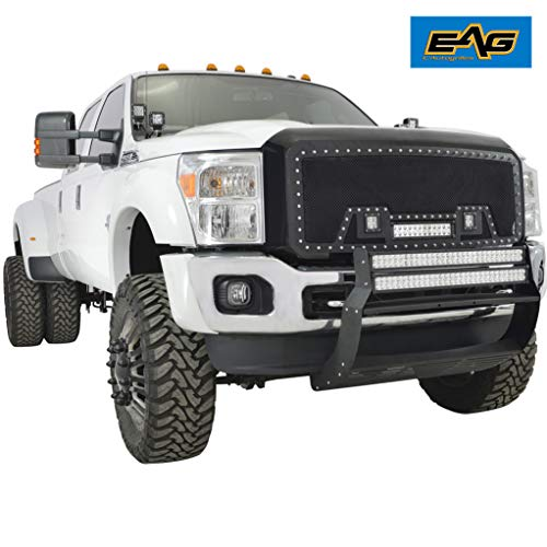 EAG Rivet Black Stainless Steel Wire Mesh Replacement Grille with Three LED Lights Matte Black Shell Fit for 11-16 Ford Super Duty - Grille Shell