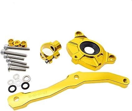 FXCNC Racing Estabilizador del amortiguador de direcci/ón ajustable de la motocicleta con soporte de montaje para HONDA CBR600RR 2005-2006