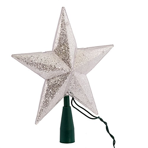 Kurt Adler UL 10-Light 5-Point Glitter Star Christmas Treetop, Silver (Tree Lit Star Topper)