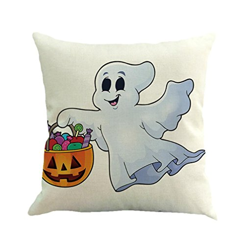 Muranba Halloween Ghost Pumpkin Pillow Case Sofa Waist Throw Cushion Cover Home Decor (C, White) (Dibujos Para Halloween De Calabazas)