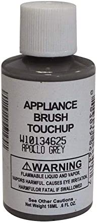 Whirlpool W10134625 0.6 oz Touch Up Paint Bottle with Brush, Apollo Gray