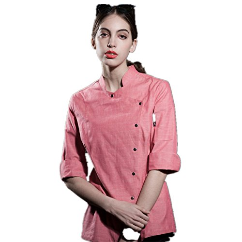 XINFU Womens Chef's Uniform Long Sleeved Korean Cuisine Chef's Work Clothes Japanese Kimono Chef Coat by XINFU