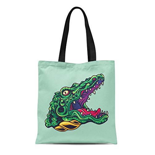 Semtomn Cotton Canvas Tote Bag Graphic Vintage Crocodile Alligator Head Old School Tattoo Helloween Reusable Shoulder Grocery Shopping Bags Handbag Printed -
