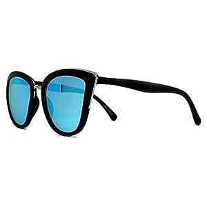 Quay My Girl Sunglasses Cat Eye Frame Kitty Metallic Aviator (Black)