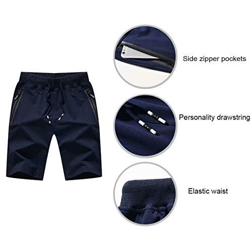 Tansozer Men's Shorts Casual Classic Fit Cotton Jogger Gym Shorts Elastic Waist Zipper Pockets (Black, Large) by Tansozer (Image #3)