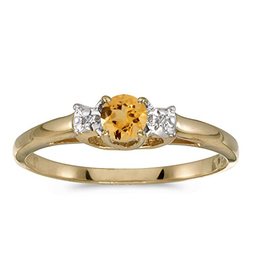 Jewels By Lux 14k Yellow Gold Genuine Birthstone Solitaire Round Citrine And Diamond Wedding Engagement Ring - Size 8.5 (0.18 Cttw.)