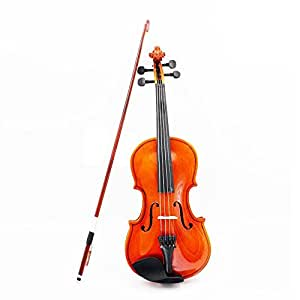Nrpfell 1/8 Size Acoustic Violin with Fine Case Bow Rosin for Age 3-6 M8V8