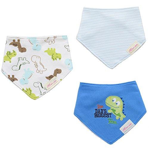 JINGS Drool Bibs |3-Pack Super Absorbent Cotton|Unisex Baby Gift|3-24Months (BIB-Dragon)