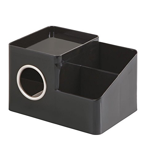InterDesign Facial Tissue Cover and Storage Caddy for Bathroom Vanity Countertops – Black/Matte Satin Boutique Box with Organizer