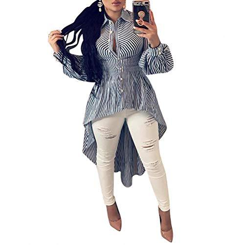 (Ophestin Women Stripe Print Long Sleeve Bodycon High Low Asymmetrical Button Down Shirt Blouse Top Blue XL)