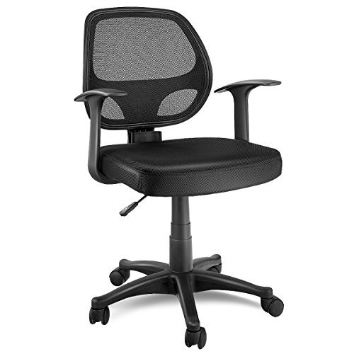 Giantex Mid-Back Task Office Chair Mesh Chair Adjustable Seat Height Ergonomic Swivel Computer Desk Chair Executive Office Chair, Black by Giantex