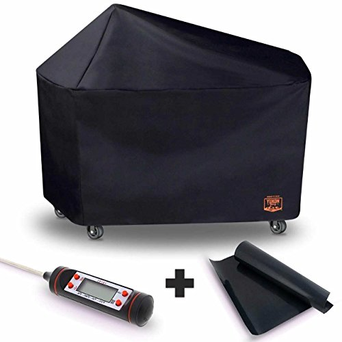 Yukon Glory 8268 Premium Grill Cover for Weber Performer Premium and Deluxe Charcoal Grills, 22-Inch (Compare to Weber 7152) FREE BONUS MEAT & POULTRY THERMOMETER + BBQ GRILLING MATT (Deluxe Barbeque Grill Cover)