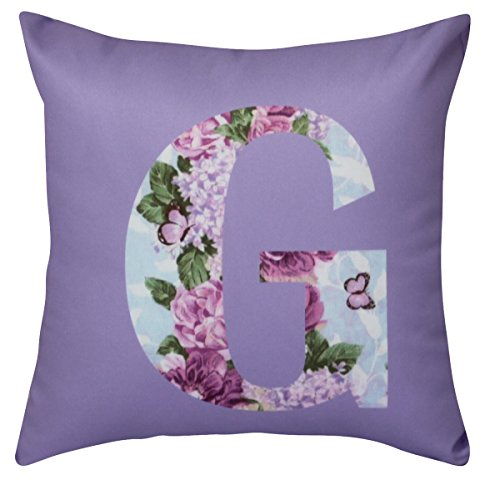 NikaGrace, Floral Letter G Throw Pillow Cover No Pillow Insert and Made in USA
