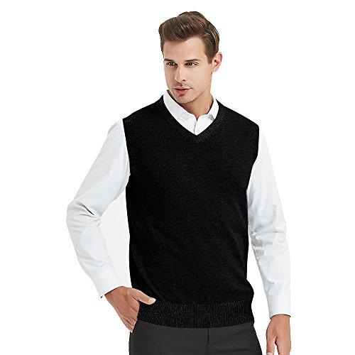 TopTie Mens Business Solid Color Plain Sweater Vest, Cotton Fit Casual Pullover-Black-L V-neck Cable Vest