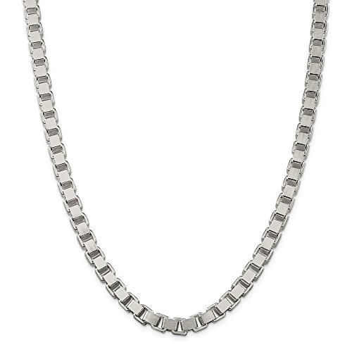 Mia Diamonds 925 Sterling Silver Solid 7mm Box Necklace Chain -18
