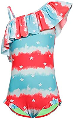 DAYU Girls Kids Swimsuit Kids Ruffle Stars Tropical Swimwear