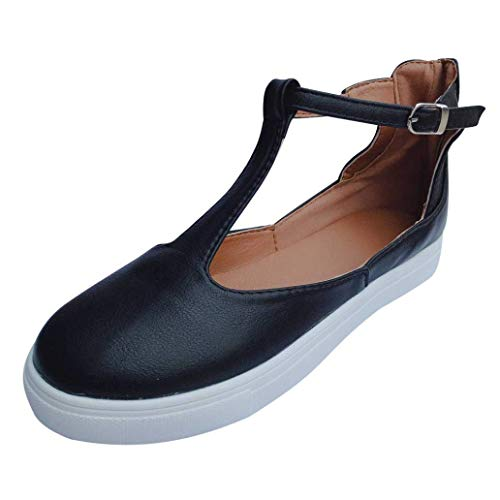 VANDIMI Mary Janes Flats Shoes T Strap Sneakers for Women Comfortable Round Toe Loafers Vintage Buckle Leather Casual Shoes Black ()