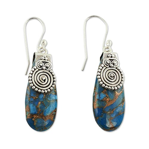 - NOVICA .925 Sterling Silver Spiral and Reconstituted Turquoise Dangle Earrings, 'Delhi Legacy'