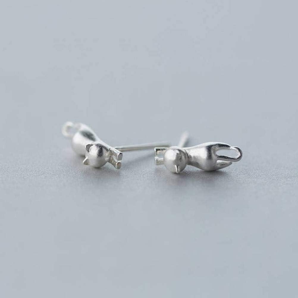 WOZUIMEI S925 Pendientes de Plata Pendientes de Gato Esmerilados Encantadores para Mujer Joyas de Oreja Joyas de Estilo EncantadorPendientes de plata S925