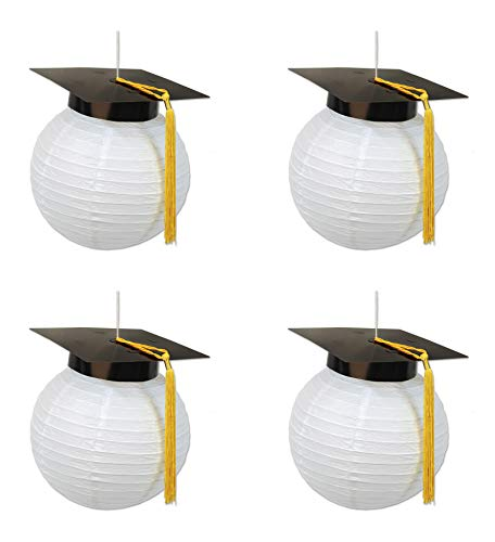 "Beistle S54933AZ2 Grad Cap Paper Lanterns 4 Piece, 9.5"", Multicolored"