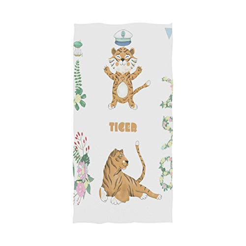 senya Bath Towel Cute Tiger Printed Ultra Absorbent and Eco-Friendly Beach Pool Towels 64