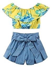 SUPEYA Kids Baby Girls Off Shoulder Floral Print Ruffle Tops+Bowknot Denim Shorts