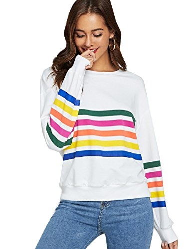 93540131b Romwe Women s Loose Casual Long Sleeve Rainbow Print Pullover ...