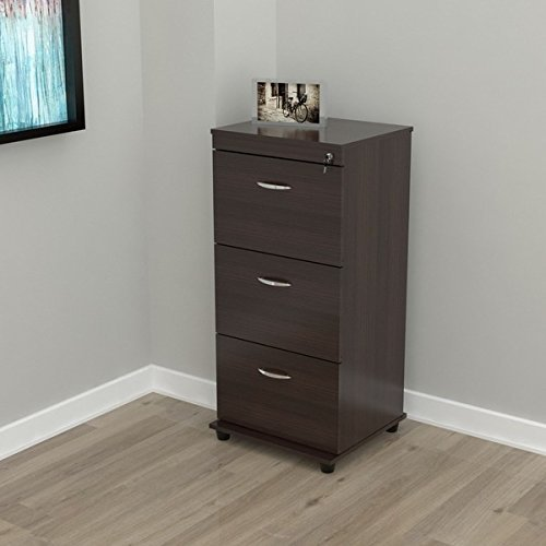 Vertical Three-drawer Espresso Wood Locking File Cabinet by Inval America LLC