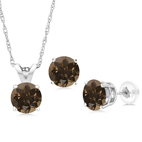 1.38 Ct Round Brown Smoky Quartz 14K White Gold Pendant Earrings Set With Chain (Chain Smoky Quartz Ring)