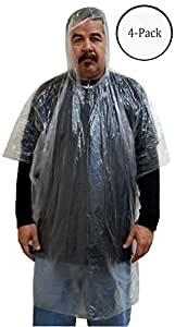 Emergency Clear Rain Poncho 3mil PVC : ( Pack of 4 Pcs )