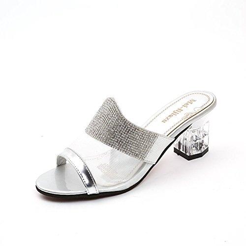 Aa-nvliangxie Frauen Sandalen Damen Sandalen Schuhe Biskuitteig Schuhe Sandalen immer am Meer Urlaub Atmung Prinzessin Schuhe Big Code Thickeu 34 Cn 35 Gules silvery 6544ac
