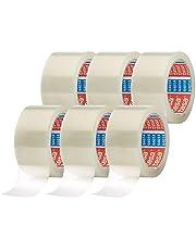 tesa Pack 64014 in 6-pack - geluidsarm pakketplakband voor het verpakken van pakketten en verzenddozen - transparant - 6 rollen elk 66 m