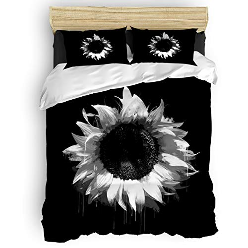 Bed Hand Painted Set (Floral Duvet Cover Set Hand-Painted Sunflower Black Grey Bedding Sets Soft Breathable Comforter Cover Corner Ties and Zipper Closure Includes 2 Pillowcases Twin Size)