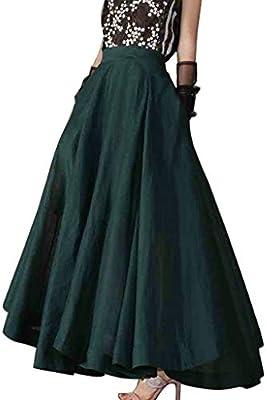 Bibao falda larga de cintura alta con cierre transparente para ...