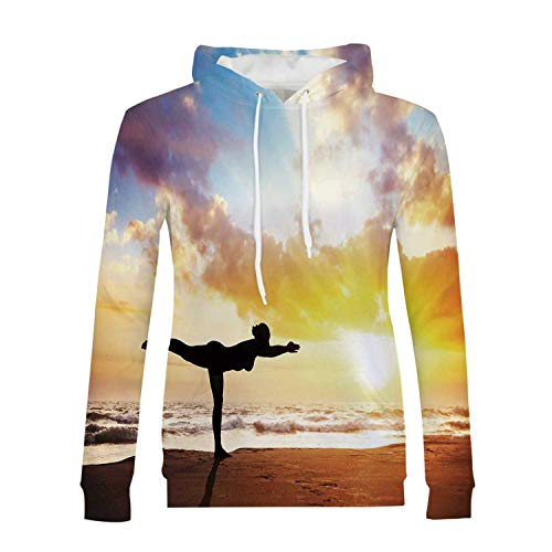 Yoga Stylish Hoodies,Warrior Pose by Woman in Silhouette with Majestic Sunset Sky Virabhadrasana Practice for Girls,XXL