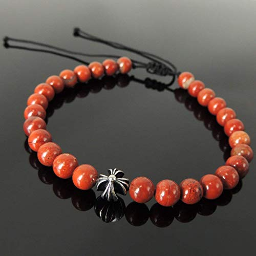 (Cross Bead Bracelet, Red Jasper Healing Gemstones Handmade and Braided for Men's Women's Chakra Meditation, Casual Wear, Protection with 6mm Beads, Adjustable Drawstring, Genuine 925 Sterling Silver)