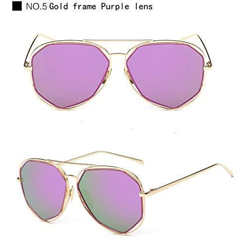 Pour Personnalité Purple Nouveau Design Femmes Marque En De No Soleil Uv400 Lunettes Lentille Cj970 Métal Plate 5 Protection Cond Cadre Miroir Hommes 4v6FxE1wAq